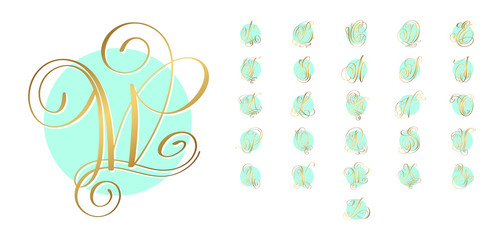 golden hand lettering alphabet design on green circle background