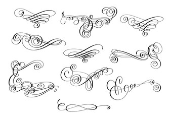 hand written calligraphic design set of swirl ornate decoration