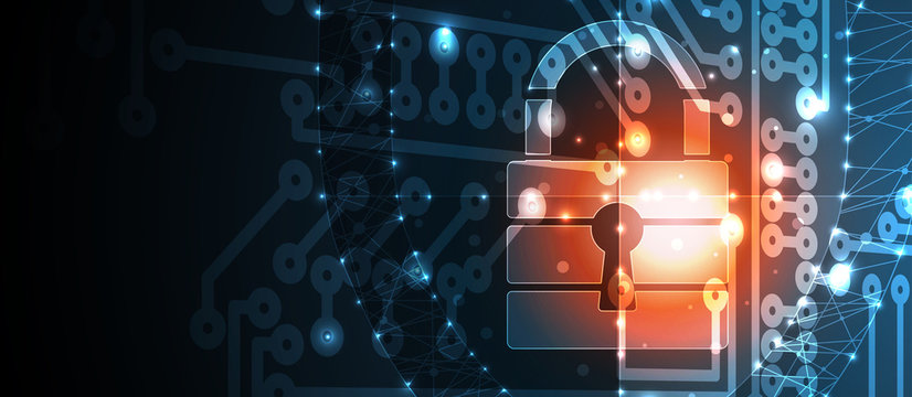 Cyber security and information or network protection. Future technology web services for business and internet project