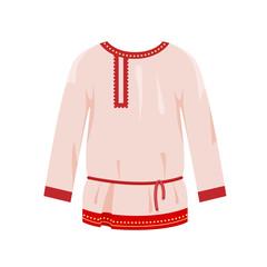Russian culture, landmarks, symbols. Traditional ornamental mockup men white shirt.