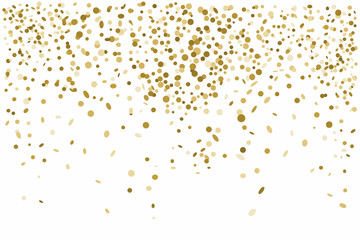 Golden confetti isolated on white background