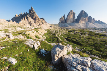 Panoramic view of Tre cime di Lavaredo, in the Dolomites, Italy