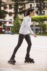 Female on roller skates.