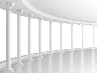 White classic interior with columns (3D rendering)
