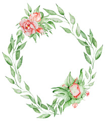 Peonies wreath Hand painted watercolor combination of Flowers and Leaves