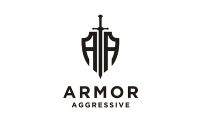 Shield / Armor / Initial AA logo design inspiration