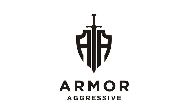 Shield Armor Sword Initials AA for Military Legal Insurance logo design inspiration
