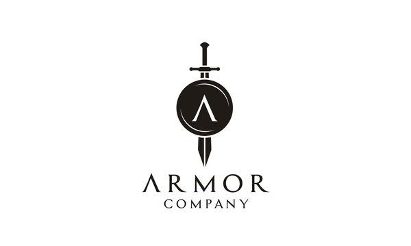 Shield Armor Sword Initial Letter A for Military Legal Insurance logo design inspiration