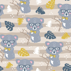 vector seamless background pattern with funny baby koalas for fabric, textile