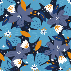 Vector seamless background pattern with hand drawn flowers