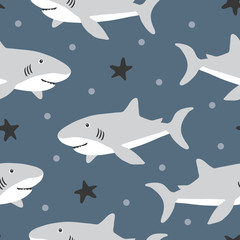 vector seamless background pattern with funny baby sharks for fabric, textile