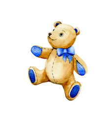 Teddy bear. Watercolor illustration isolated on background