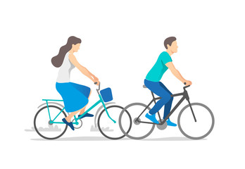 Happy young couple riding on bicycle. Vector illustration.
