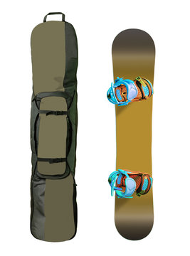 Top view of snowboard and bag isolated on white background. Sport and transportation equipment