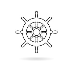 Steering wheel of the ship, Ship wheel line icon
