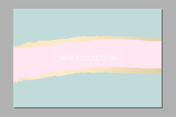 Set of New Collection fashion headers. Gold and Pastel blush. Elegant with hand drawn brush texture in pastel. Great for advertising, social media, web, blog, flyer, poster, brochure, invitation
