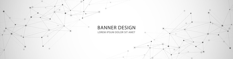 Vector banner design, network connection with lines and dots Wall mural