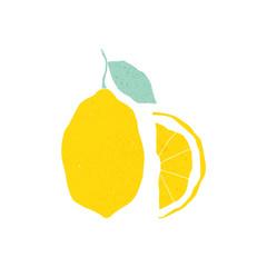 Hand drawn textured lemon illustration on the white background