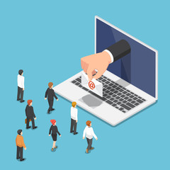 Isometric businessman hand come out from laptop monitor with email letter