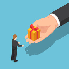 Isometric hand giving gift box to businessman
