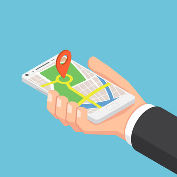 Isometric businessman hand holding smartphone with pinpoint on the map application