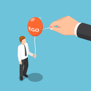 Isometric big hand use needle to destroy ego balloon of businessman