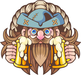cartoon pirate with beer in hands, funny illustration