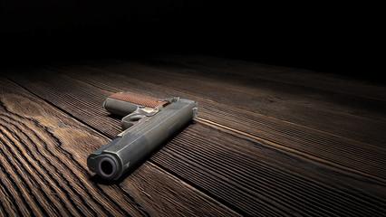 Gun on wooden floor in dark room  3D render 3D illustration