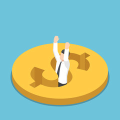 Isometric businessman falling into the hole on dollar coin.