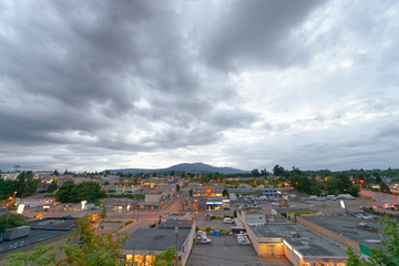 Nanaimo skyline at sunset against cloudy sky