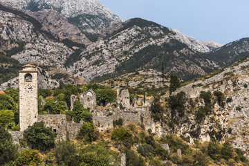 Historic Bar fortress in front of a mountain range, Montenegro