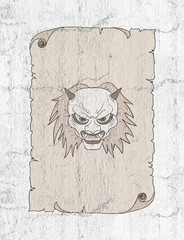 demon face in old paper draw