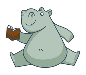 Funny hippo sits in weird position and reads book