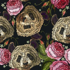 Embroidery panda and flowers seamless pattern. Fashion template for clothes, textiles, t-shirt design. Classical embroidery pattern portrait of funny panda bear and roses flowers