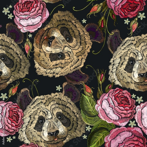 embroidery panda and flowers seamless pattern fashion template for