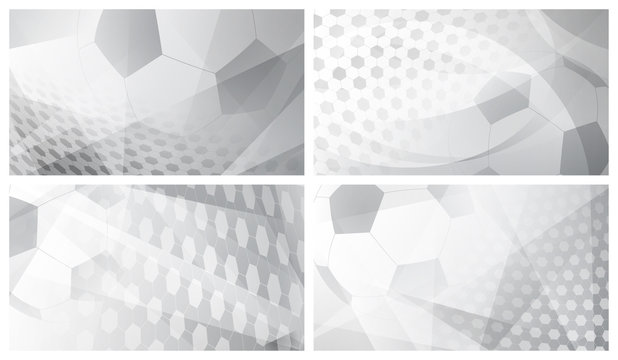 Set of four football or soccer abstract backgrounds with big ball in gray colors