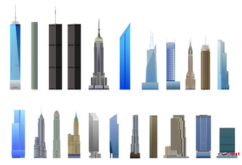 New York City skyscrapers set, isolated