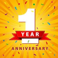 1 year anniversary celebration card. Vector illustration