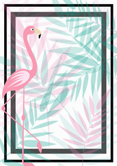 summer background with flamingo