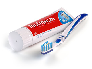 Toothbrush and tube of toothpaste isolated on white background.