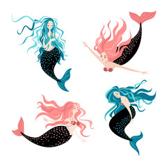 Set of funny cartoon mermaids. Fairy tale characters Cute isolated vector illustrations on white background