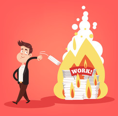 Office worker businessman character throw in fire paper work documents. Secret privet information destroying concept elements. Vector flat cartoon design graphic isolated illustration