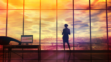 Improve the environmental situation, the silhouette of a woman in the office