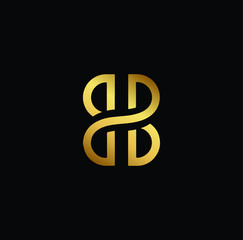 Creative modern elegant trendy unique artistic black and gold color BB initial based letter icon logo.