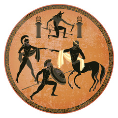 Ancient Greece scene. Black figure pottery. Centaur, people, gods of an Olympus