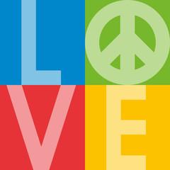 love - amour - paix - peace and love - hippie - sixties - année 60 - vintage - déco - décoration