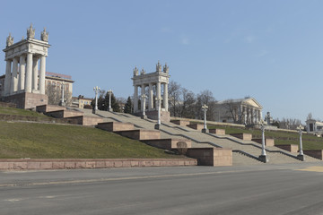 Volgograd, Russia, architectural ensemble of the Central embankment, in the early spring morning.