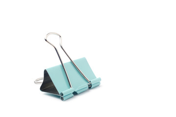 Blue Binder clip on a white background.