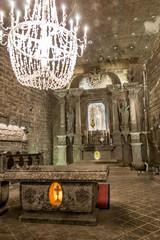 L'église souterraine des mines de sel de Wieliczka près de Cracovie