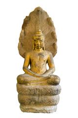 Ancient Buddha Image isolated on a white background , Buddha Sheltered by Naga Hood